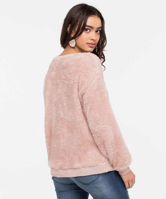 Faux Sherpa Soft Touch Top, Rose Petal, hi-res