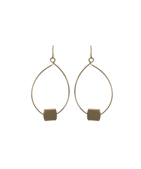 Wire Teardrop Square Bead Earring, Soft Gold, hi-res