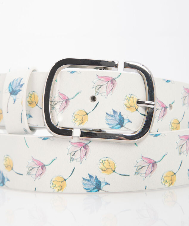 Basic Floral Belt, Pearl/Mid Pink/Summer Navy