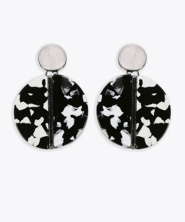Resin Disc Earring, Black/Pearl/Rhodium, hi-res