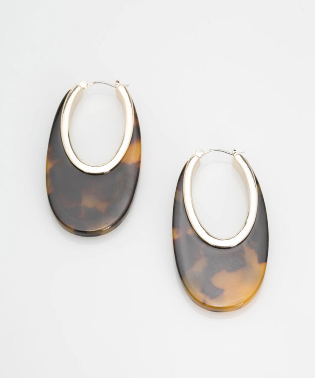 Oval Resin Earring, Gold/Camel/Espresso, hi-res