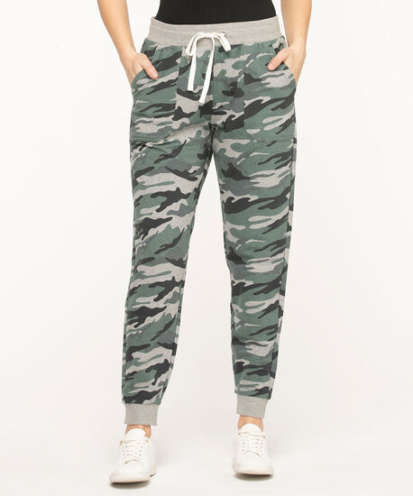 French Terry Drawstring Joggers, Olive Camo, hi-res