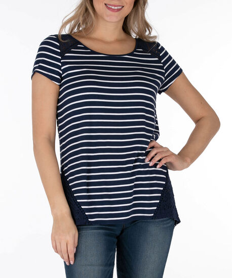 Crochet Trim Scoop Neck Top, Summer Navy/White, hi-res
