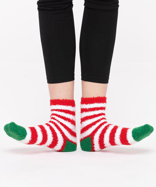 Festive Stripe Plush Sock, Red/White