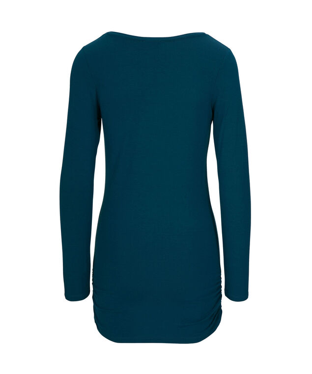 Ruched Layering Essential Top, Teal, hi-res