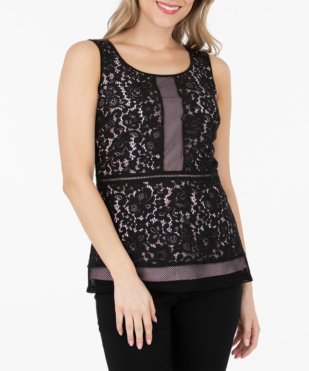 Lace Overlay Sleeveless Peplum Top, Black/Cameo Pink, hi-res