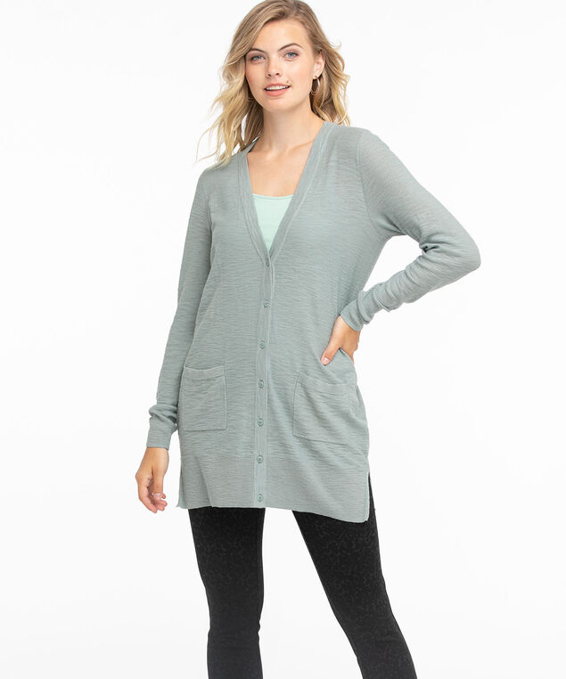 Button Front Tunic Cardi, Abyss