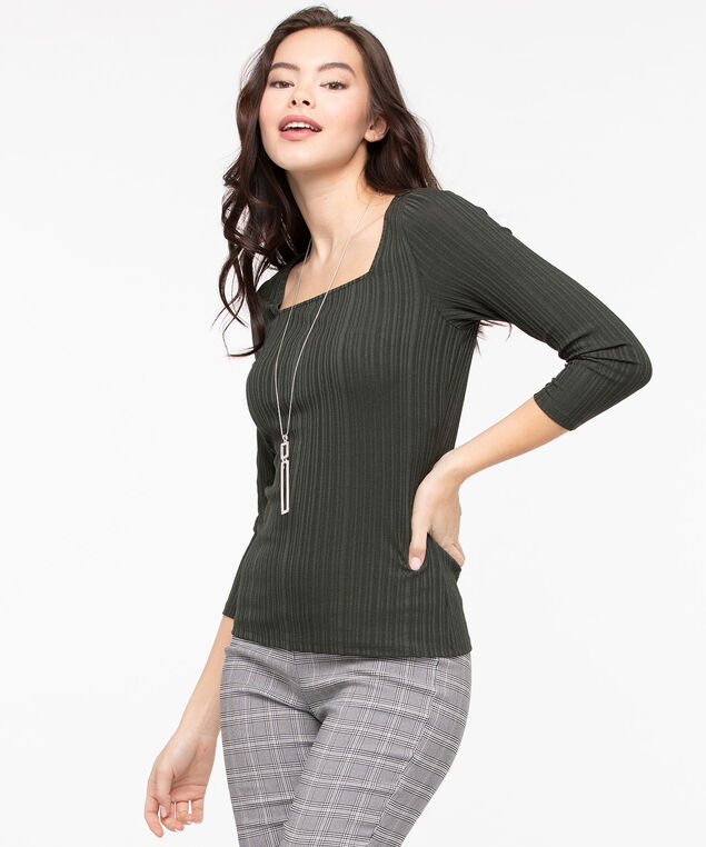 3/4 Sleeve Square Neck Top, Basil, hi-res