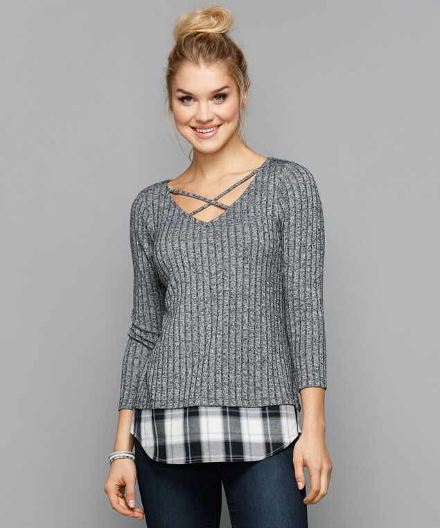 Criss-Cross Neck Fooler Top, Grey/Black, hi-res