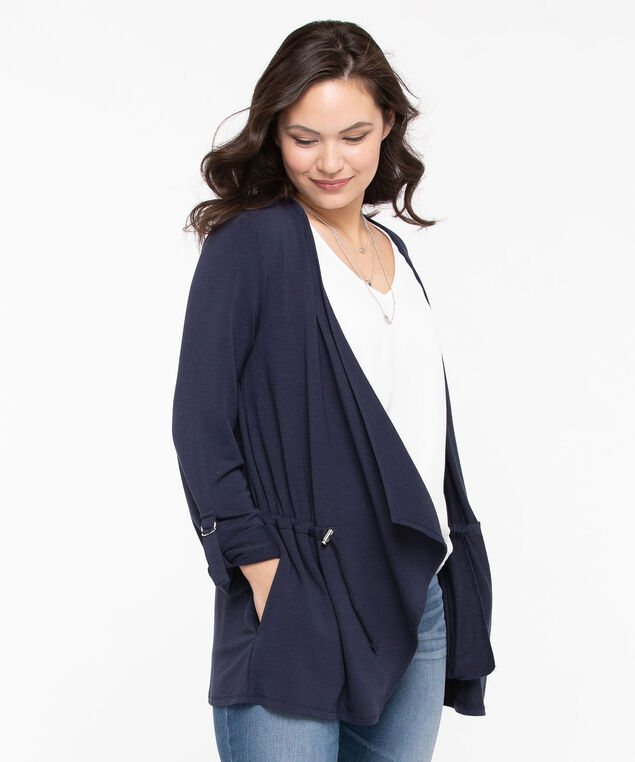 Drawstring Waist Terry Cardigan, Summer Navy, hi-res