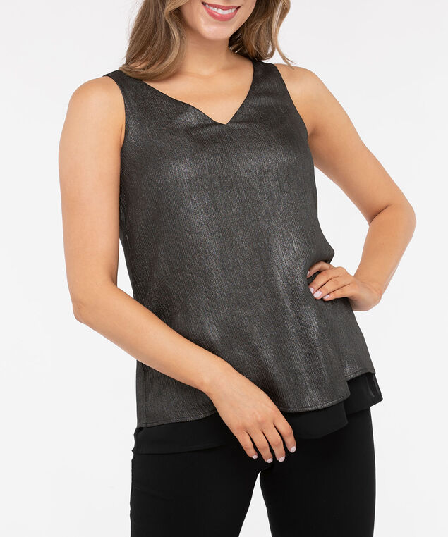 Sleeveless Criss Cross Back Blouse, Charcoal/Black, hi-res