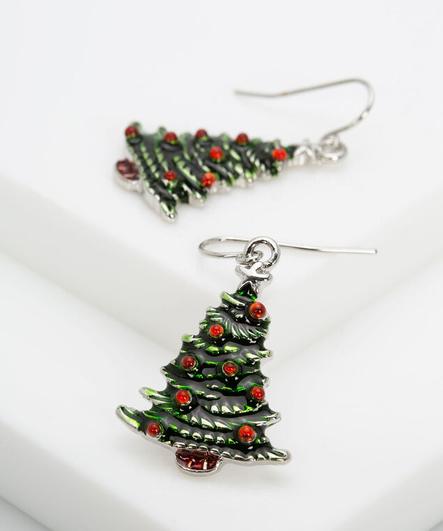 Christmas Tree Earring, Bright Green/Rhodium, hi-res
