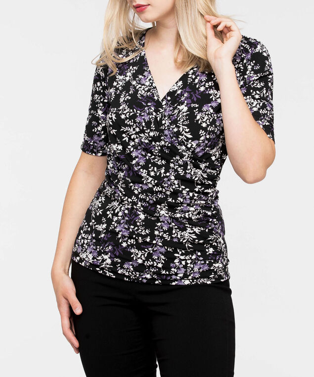 3/4 Sleeve Ruched Wrap Top, Black/Mauve/Pearl/Grey, hi-res