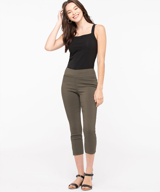 Microtwill Pull-On Crop, Praline