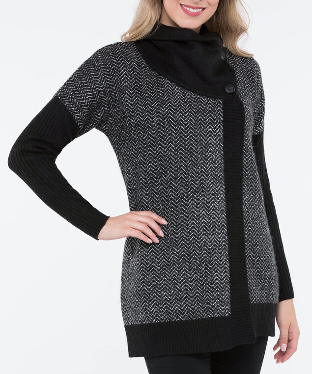 Two Button Chevron Wrap Cardigan, Black/Pearl, hi-res