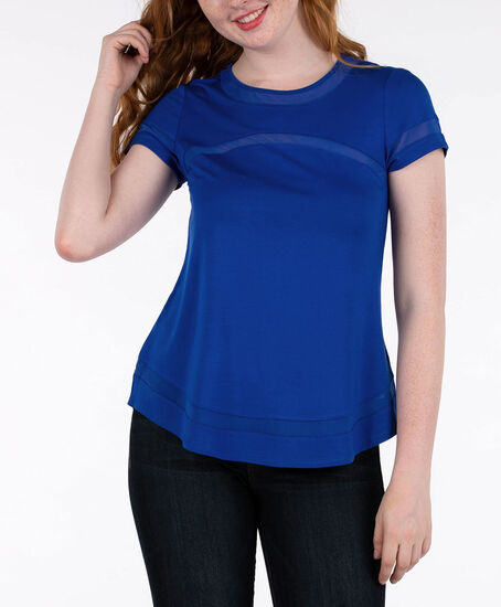 Short Sleeve Mesh Trim Top, Ink Blue, hi-res