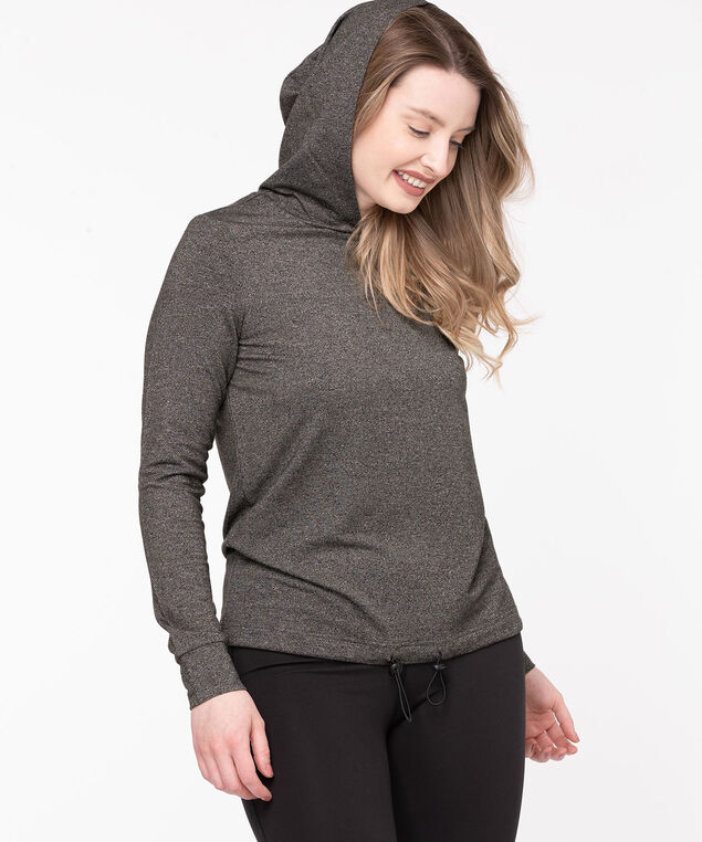 Hooded Pullover Activewear Top, Black Mix