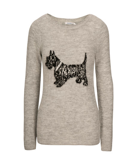 Plush Scottie Dog Sweater, Grey, hi-res