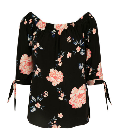 Tie Sleeve On-Off Shoulder Top, Black/Pastel Pink/Blue, hi-res