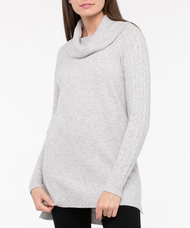 Cowl Neck Cable Sleeve Sweater, Light Heather Grey, hi-res
