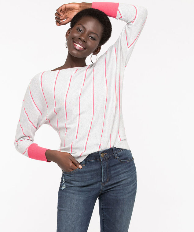 Striped Boatneck Pullover Sweater, Grey/Bellini/Pearl, hi-res