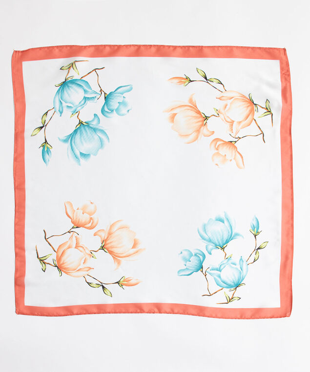 Soft Floral Square Scarf, Coral/Snow White