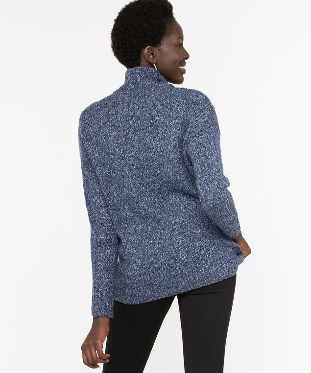 Eco-Friendly Cable Knit Sweater, Navy Mix