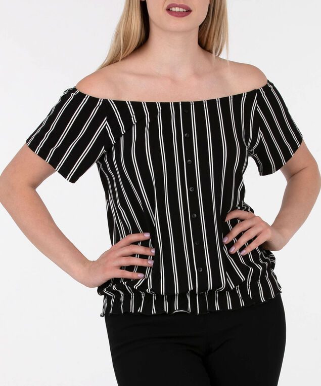 Off Shoulder Button Front Top, Black/White, hi-res