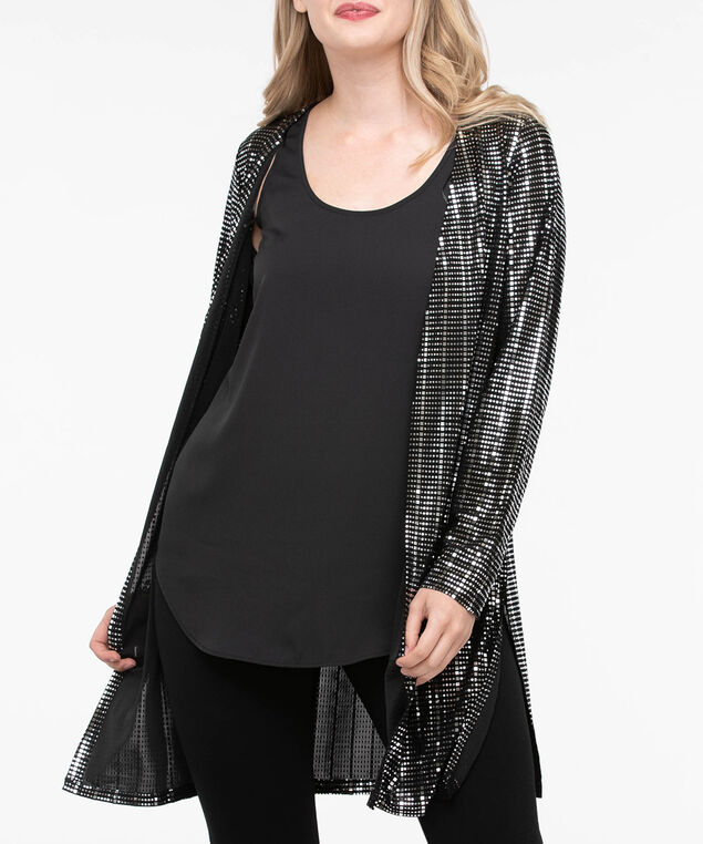 Long Sleeve Open Sparkly Cardigan, Silver/Black, hi-res