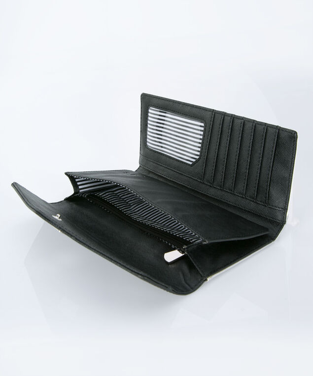 Colourblock Flap Wallet, Black/White/Grey, hi-res