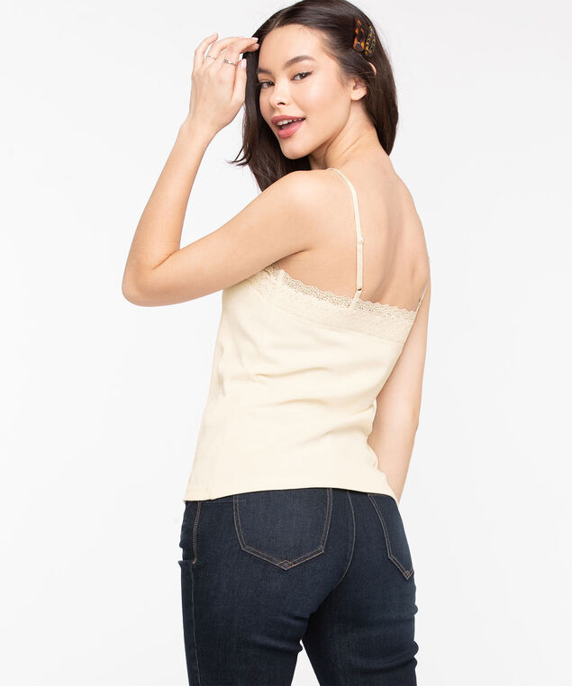 Lace V-Neck Ribbed Cami, Pristine