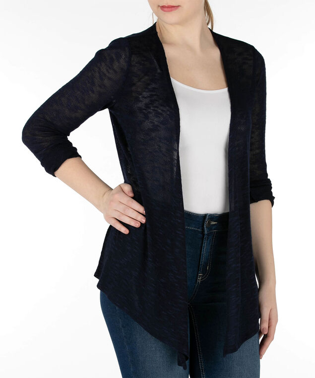 Open Stitch Slub Cardigan, Summer Navy, hi-res