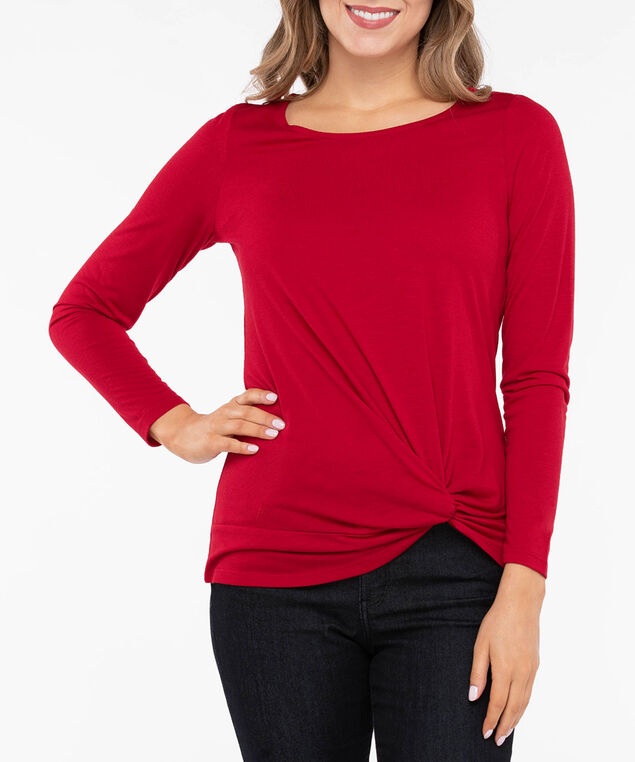 Long Sleeve Knot Front Top, Crimson, hi-res