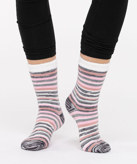 Striped Double Faced Sock, Grey/Pearl/Dusty Blush, hi-res
