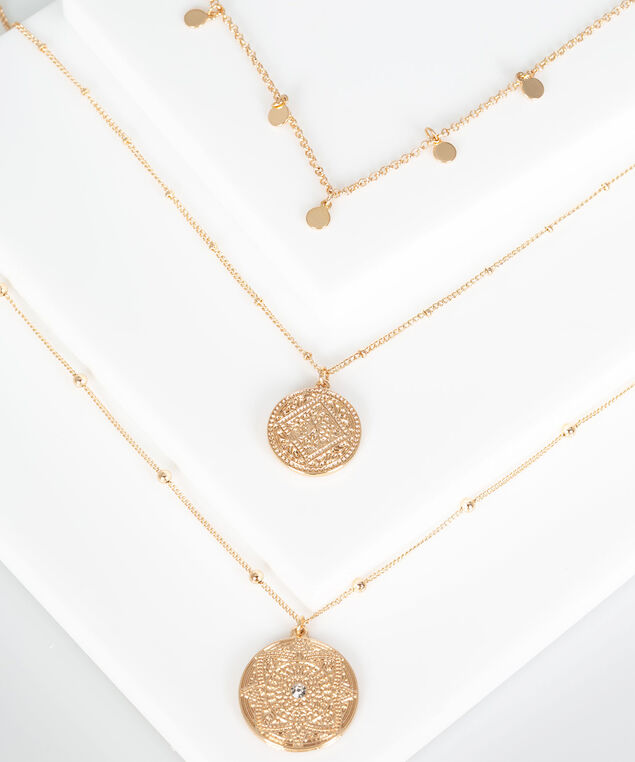 Multi Row Coin Pendant Necklace, Gold, hi-res
