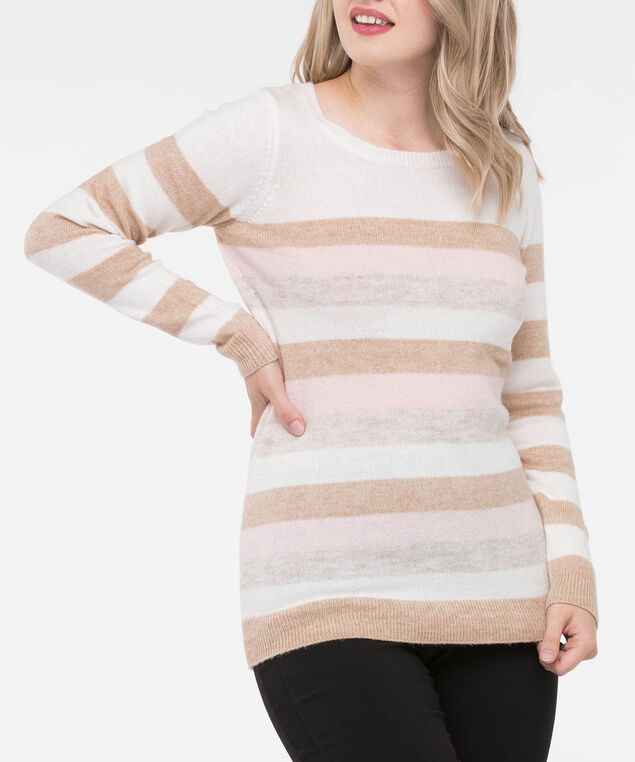 Striped Scoop Neck Pullover Sweater, Ecru/Camel/Soft Pink/Pearl, hi-res