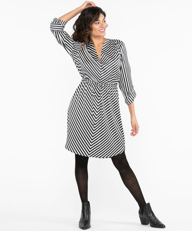 Black & White Shirt Dress, Black/White