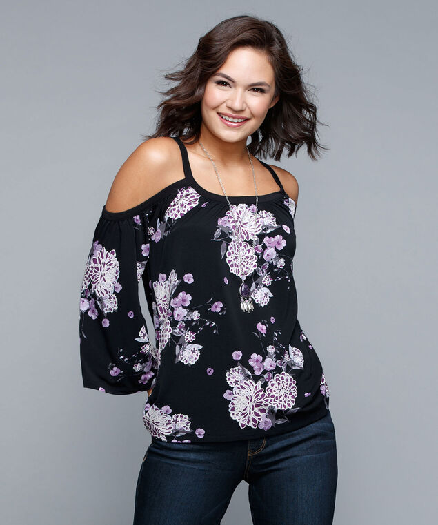 Puff Print Cold Shoulder Top, Black/White/Purple, hi-res