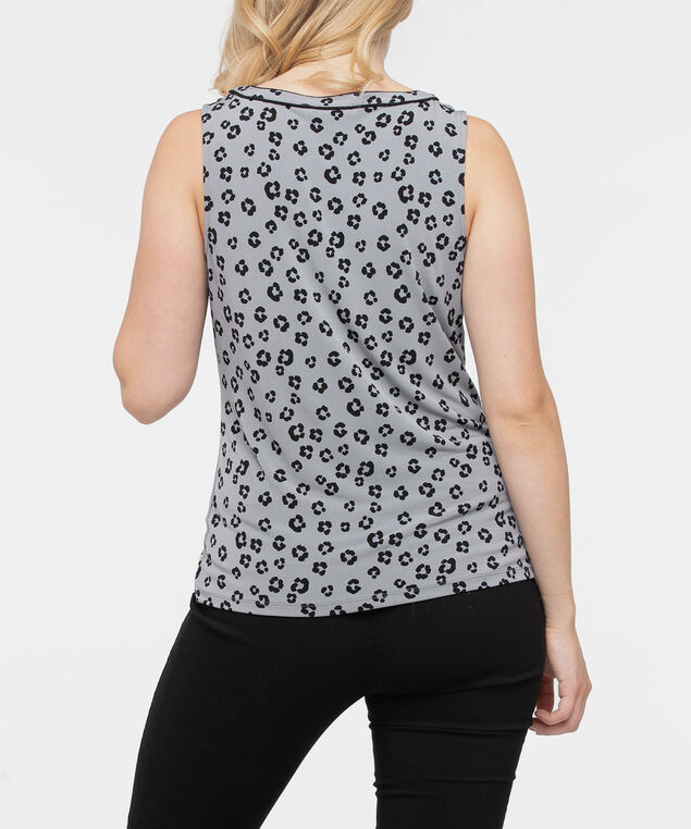 Sleeveless Pleat Neck Top, Grey/Black, hi-res