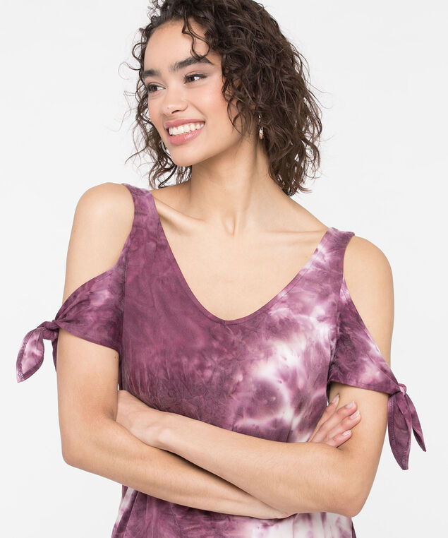 Tie Dye Cold Shoulder Top, Purple, hi-res