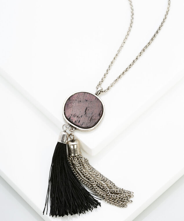 Resin & Tassel Pendant Necklace, Rhodium/Brown/Black, hi-res