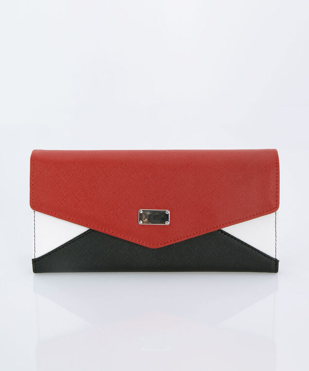 Colourblock Flap Wallet, Red/Black/White, hi-res