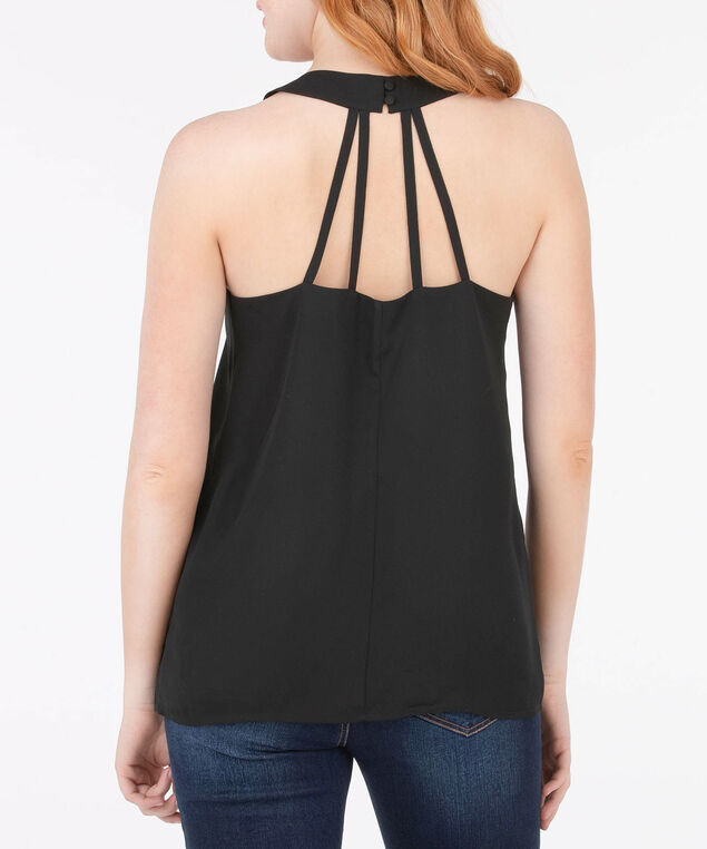 Strappy Back Halter Style Blouse, Black, hi-res