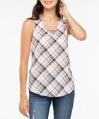 Sleeveless V-Neck Ladder Trim Top, Pearl/Dark Rust/Marigold, hi-res