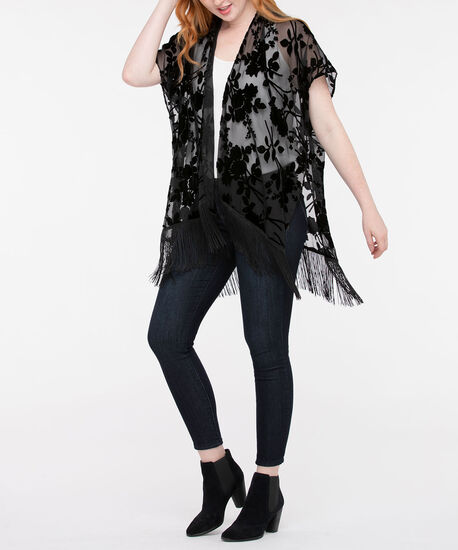 Burnout Velvet Fringe Ruana, Black, hi-res