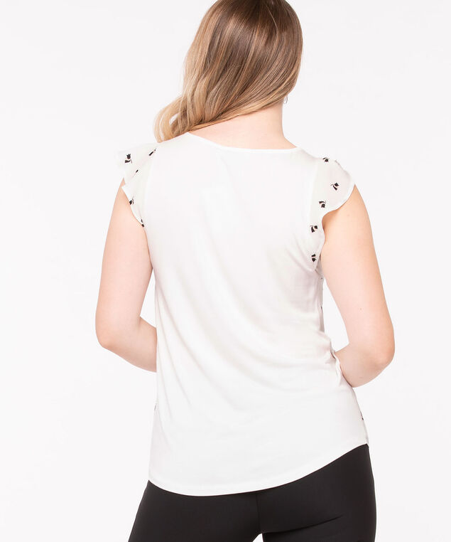 Embroidered Trim Floral Mixed Media Top, True White/Black, hi-res