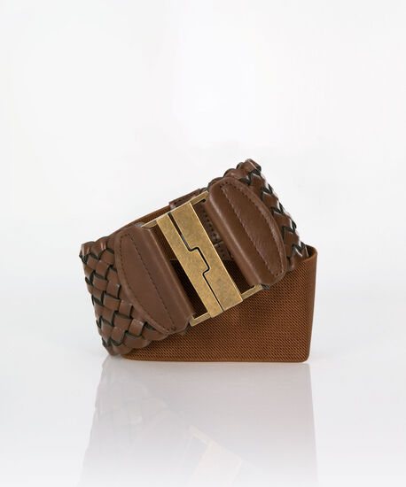 Woven Faux Leather Stretch Belt, Brown/Gold, hi-res