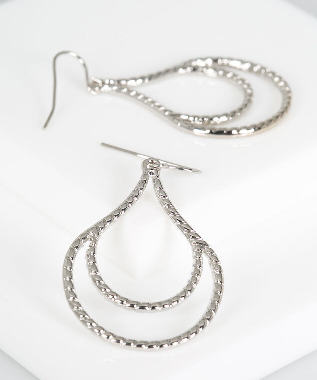 Textured Metal Teardrop Earring, Rhodium, hi-res