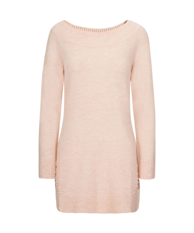 Plush Boat Neck Tunic Sweater, Pale Pink, hi-res
