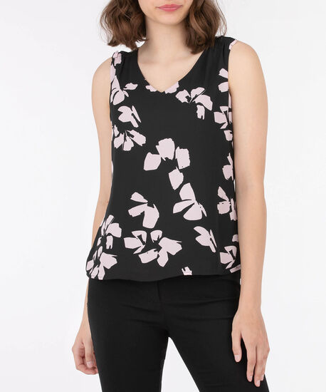 Sleeveless V-Neck Ruffle Trim Blouse, Black/Cameo Pink, hi-res